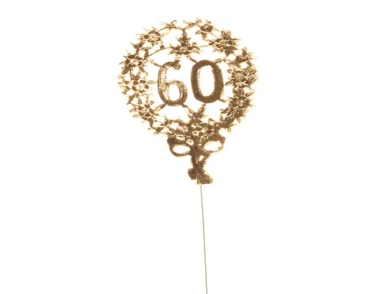 Jubelzahlen - Zahlen zum Stecken an Draht  in Gold - Höhe 6,5cm - Zahl 60