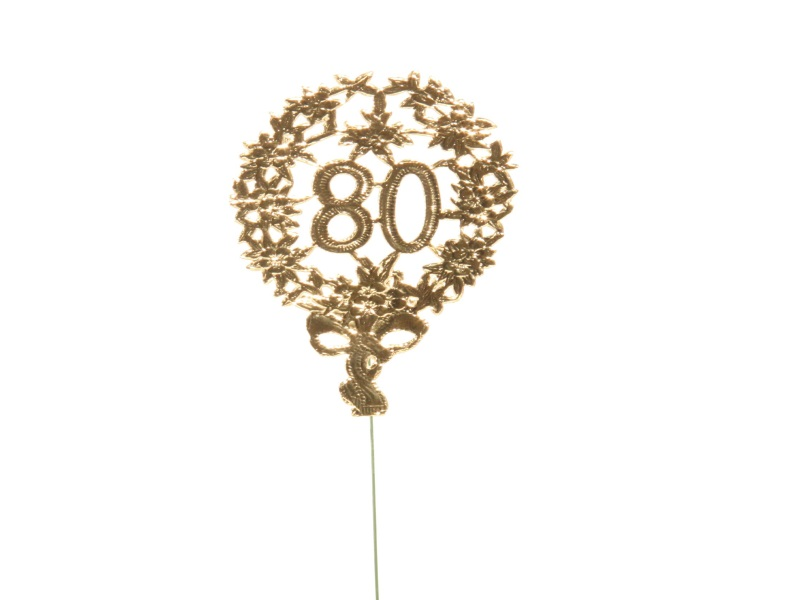Jubelzahlen - Zahlen zum Stecken an Draht  in Gold - Höhe 6,5cm - Zahl 80