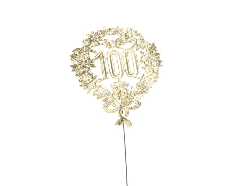 Jubelzahlen - Zahlen zum Stecken an Draht  in Gold - Höhe 6,5cm - Zahl 100