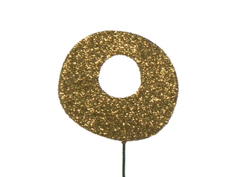 Glimmerzahlen - Zahlen zum Stecken an Draht  in Gold - Höhe 6,5cm - Zahl 0