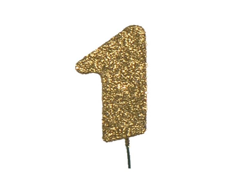 Glimmerzahlen - Zahlen zum Stecken an Draht  in Gold - Höhe 6,5cm - Zahl 1