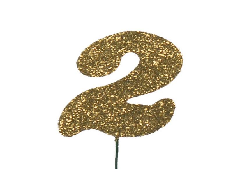 Glimmerzahlen - Zahlen zum Stecken an Draht  in Gold - Höhe 6,5cm - Zahl 2