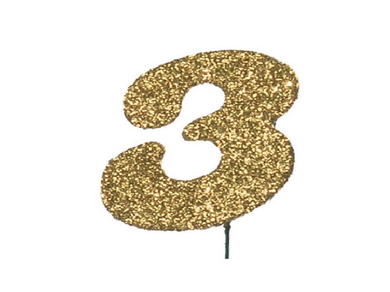 Glimmerzahlen - Zahlen zum Stecken an Draht  in Gold - Höhe 6,5cm - Zahl 3