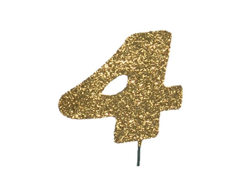 Glimmerzahlen - Zahlen zum Stecken an Draht  in Gold - Höhe 6,5cm - Zahl 4