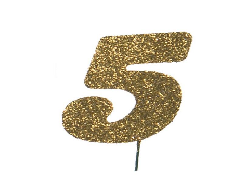 Glimmerzahlen - Zahlen zum Stecken an Draht  in Gold - Höhe 6,5cm - Zahl 5