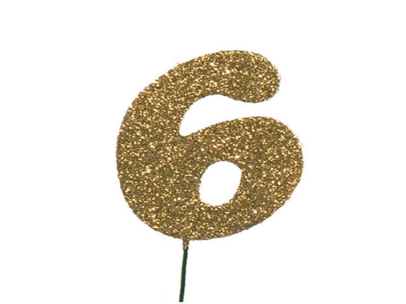 Glimmerzahlen - Zahlen zum Stecken an Draht  in Gold - Höhe 6,5cm - Zahl 6