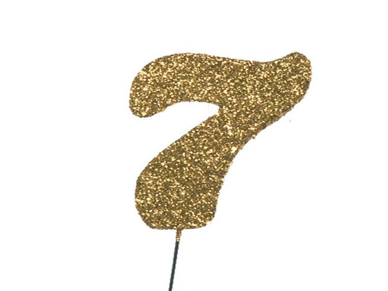 Glimmerzahlen - Zahlen zum Stecken an Draht  in Gold - Höhe 6,5cm - Zahl 7