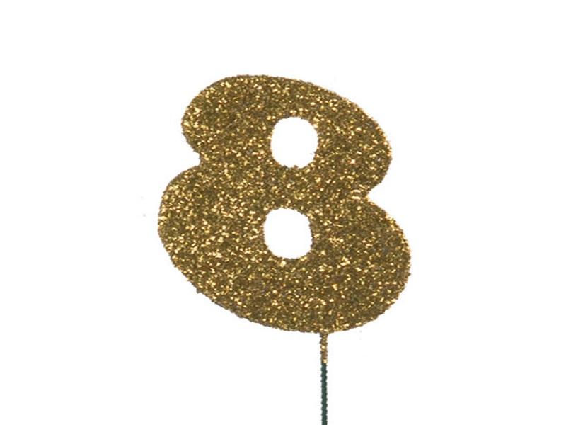 Glimmerzahlen - Zahlen zum Stecken an Draht  in Gold - Höhe 6,5cm - Zahl 8