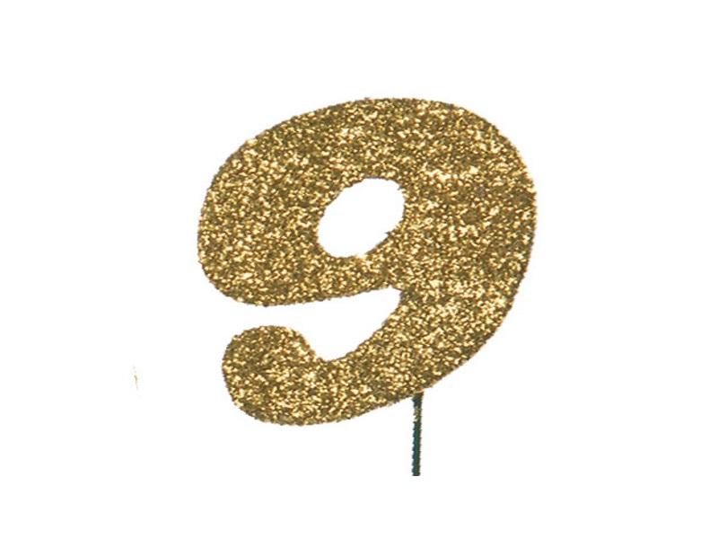 Glimmerzahlen - Zahlen zum Stecken an Draht  in Gold - Höhe 6,5cm - Zahl 9