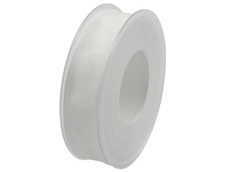 Dekoband mit Draht - Satinband Geschenkband - 25 mm x 25 m Weiß