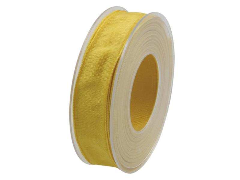 Dekoband mit Draht - Satinband Geschenkband - 25 mm x 25 m Gelb