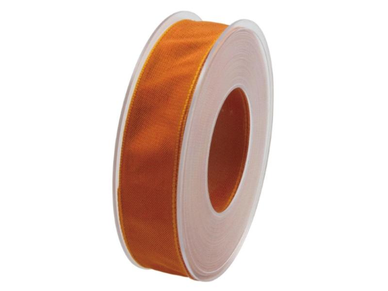 Dekoband mit Draht - Satinband Geschenkband - 25 mm x 25 m Orange