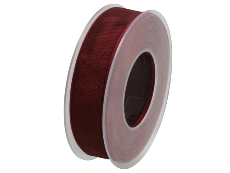 Dekoband mit Draht - Satinband Geschenkband - 25 mm x 25 m Bordeaux