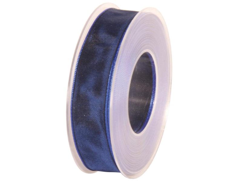 Dekoband mit Draht - Satinband Geschenkband - 25 mm x 25 m Dunkelblau