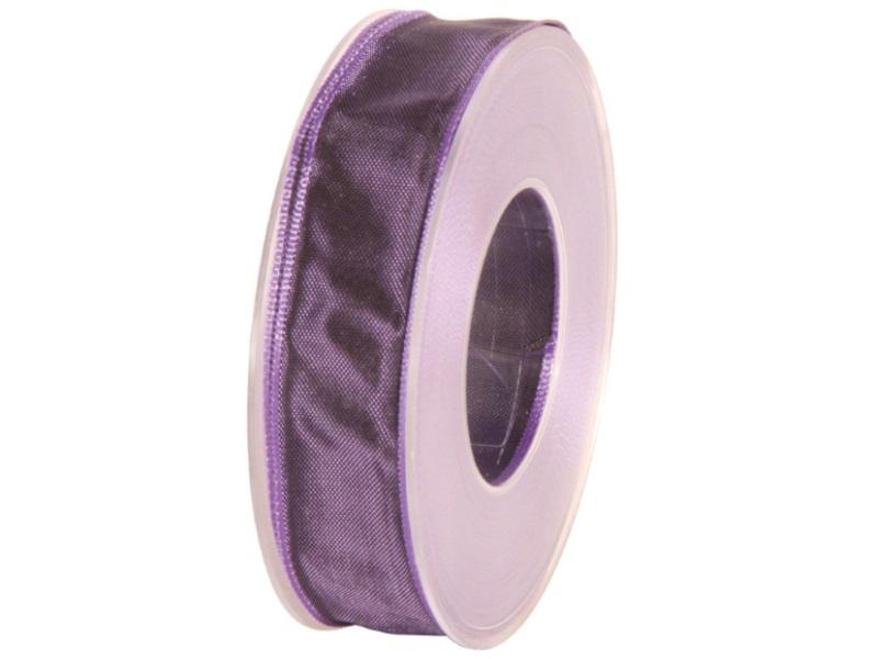 Dekoband mit Draht - Satinband Geschenkband - 25 mm x 25 m Lila