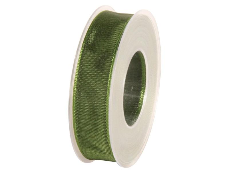 Dekoband mit Draht - Satinband Geschenkband - 25 mm x 25 m Dunkelgrün
