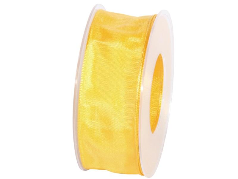Dekoband mit Draht - Satinband Geschenkband - 40 mm x 25 m Gelb