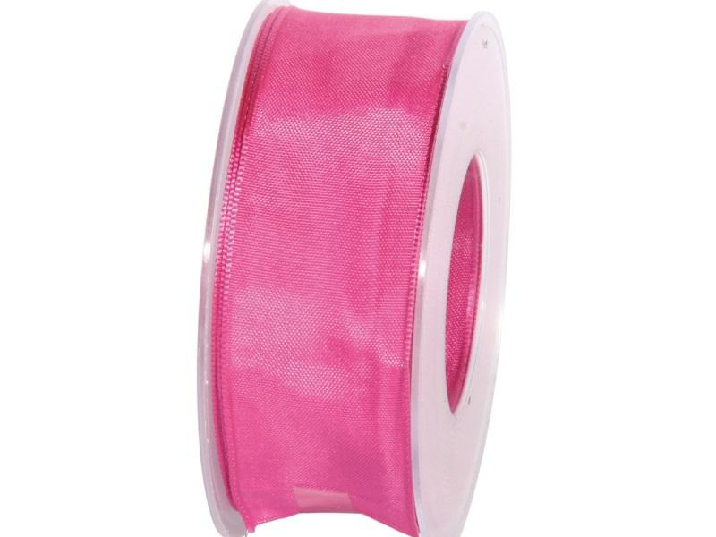 Dekoband mit Draht - Satinband Geschenkband - 40 mm x 25 m Pink