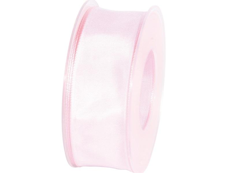 Dekoband mit Draht - Satinband Geschenkband - 40 mm x 25 m Rosa