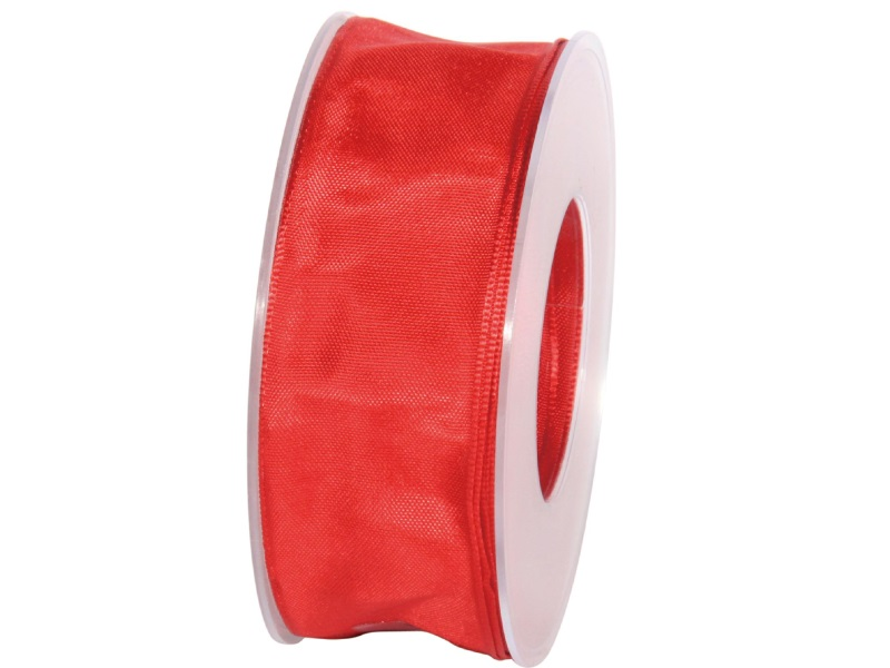 Dekoband mit Draht - Satinband Geschenkband - 40 mm x 25 m Rot