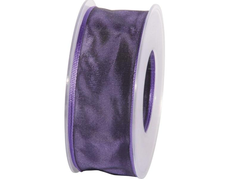 Dekoband mit Draht - Satinband Geschenkband - 40 mm x 25 m Lila