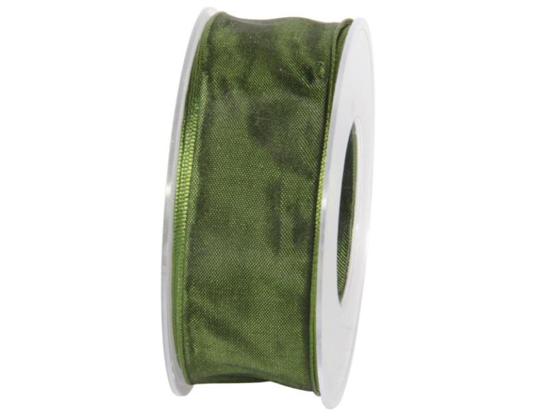 Dekoband mit Draht - Satinband Geschenkband - 40 mm x 25 m Dunkelgrün