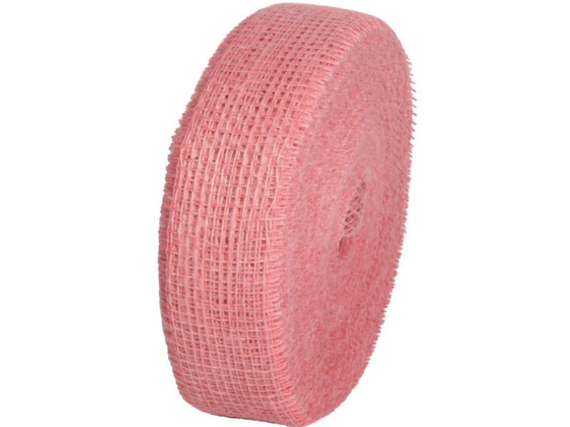 Juteband  - Bastelbedarf 40 m x 50 mm, Farbe Farbe  Rosa, Juteband gewebt