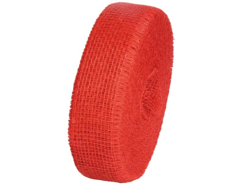 Juteband  - Bastelbedarf 40 m x 50 mm, Farbe Farbe  Rot, Juteband gewebt