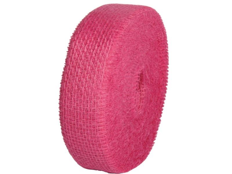 Juteband  - Bastelbedarf 40 m x 50 mm, Farbe Farbe  Fuchsia, Juteband gewebt