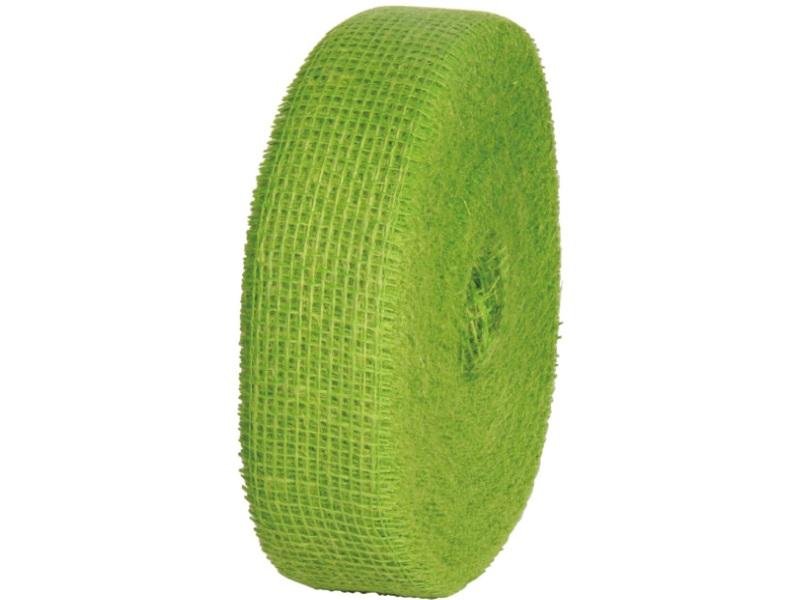 Juteband  - Bastelbedarf 40 m x 50 mm, Farbe Farbe  Grün, Juteband gewebt