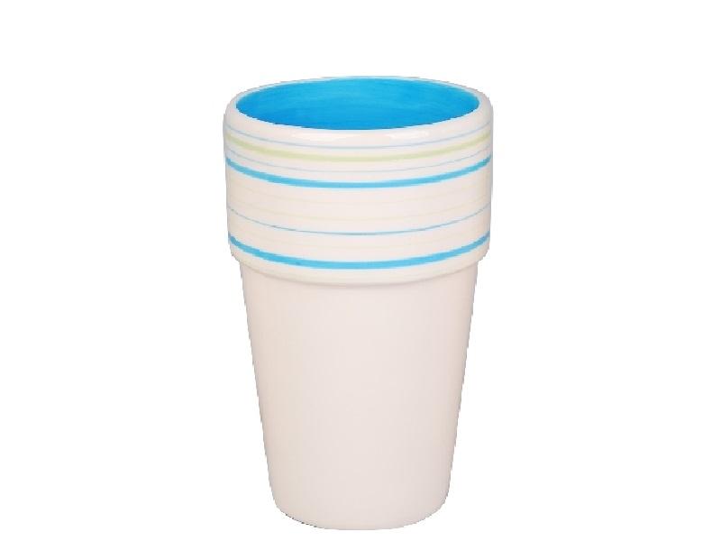 Vase mit Streifen und Rand blau-grün 11,2x18