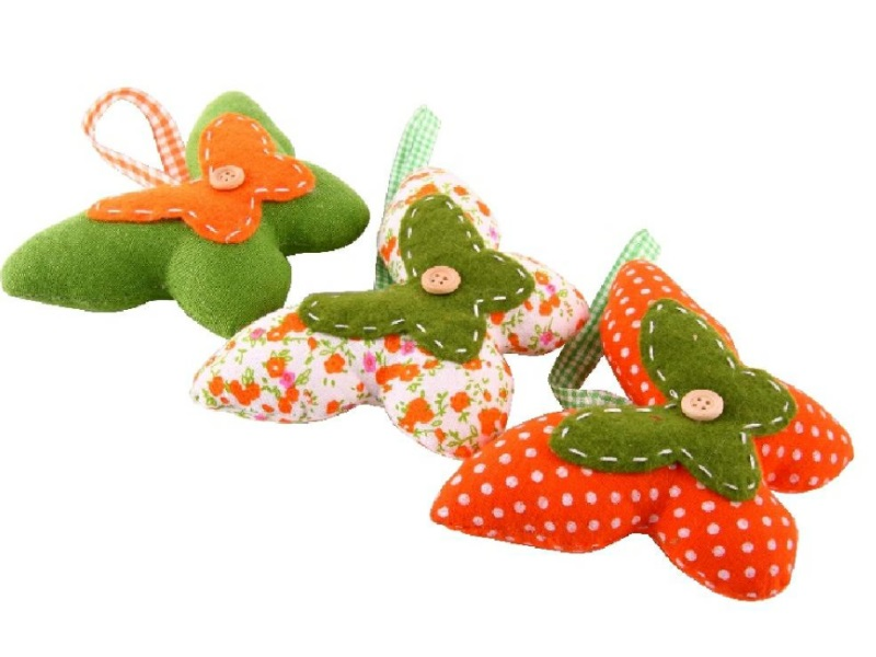 3 Schmetterlinge aus Stoff Druckmotiv orange-grün B13xT4xH10cm