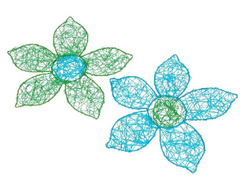 Drahtblüte z. Hängen 2 Fb sort grün/blau 20cm