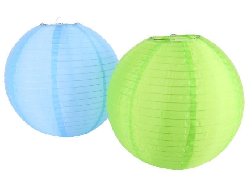 Lampion Kugel Nylon blau/grün D15cm