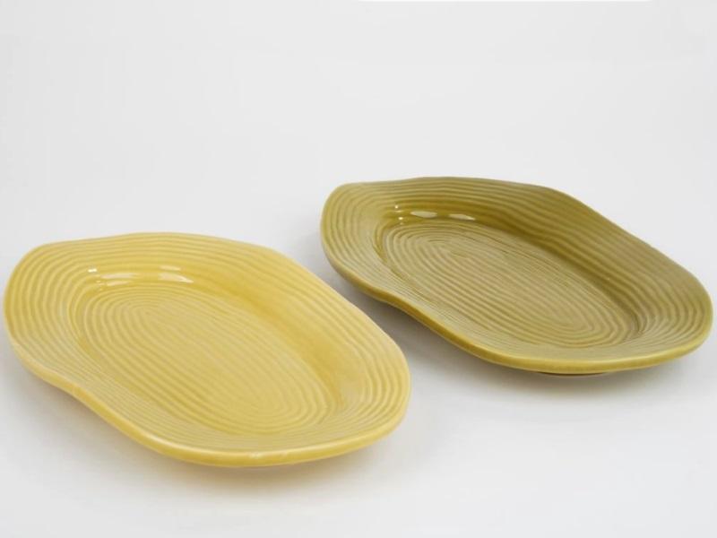 2 Deko-Teller oval Kira 2Farben sortiert GRÜN 19,5x14x1,5