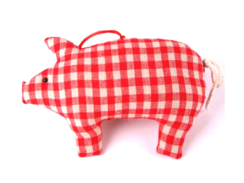 10 Schweine aus Stoff mit Karo zum hängen ROT 11x2,5x7cm