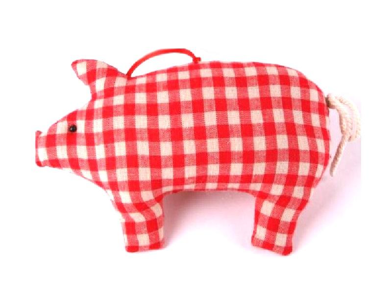 10 Schweine aus Stoff mit Karo zum hängen ROT 14x3x9,5cm