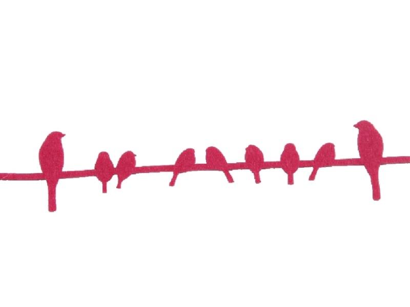 5 x Dekoband Vogelband aus Filz PINK 150cmx5cmx0,3cm
