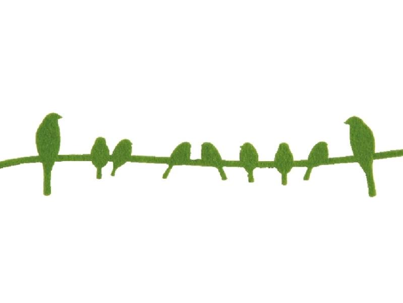 5 x Dekoband Vogelband aus Filz GRÜN 150cmx5cmx0,3cm