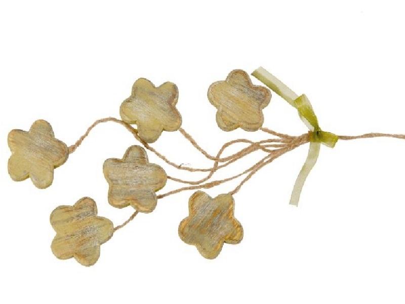 5 x Blütenbündel aus Holz an Schnurr GRÜN 5,5cmx1x5,5cm