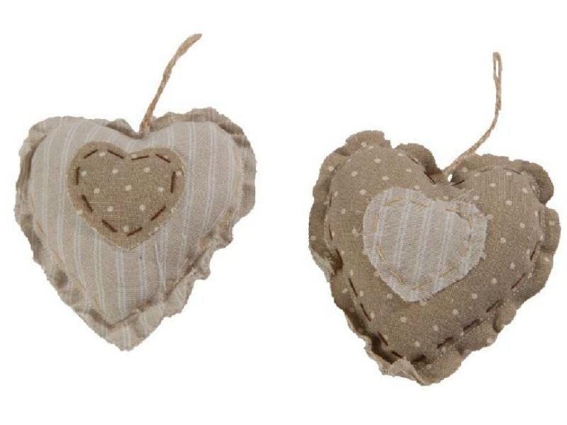 12 x Herz aus Stoff zum hängen CREME BRAUN 13x,5,4x13cm