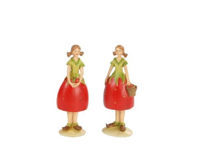 2 Dekofiguren Erdbeerfrauen sortiert ROT-GRÜN 4x3,5x12,5cm