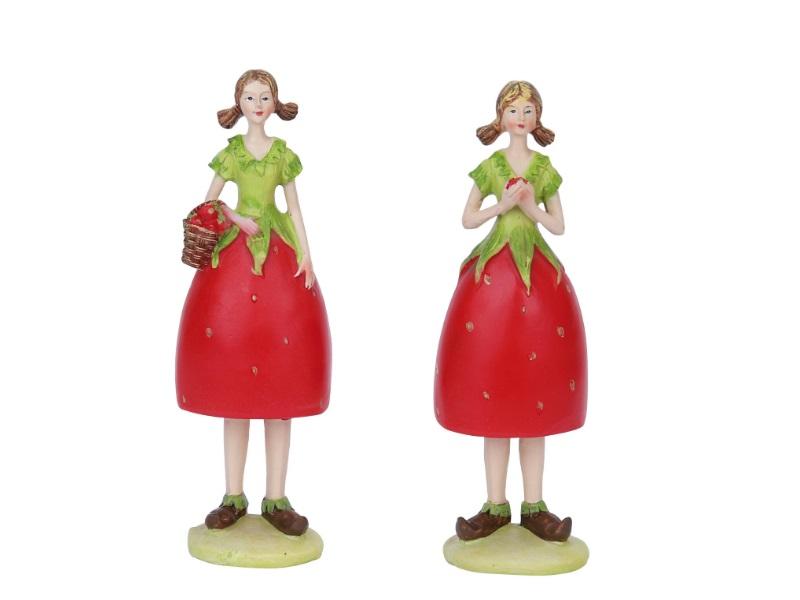 2 Dekofiguren Erdbeerfrauen sortiert ROT-GRÜN 5x5x17,5cm