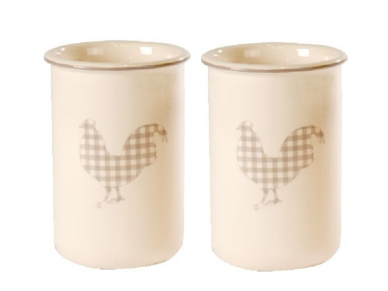 2 Vasen Keramik mit Hahn Creme-Grau 9,5x15cm