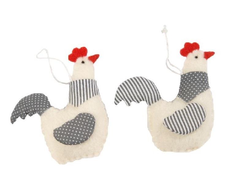 6 Hühner aus Wolle 2f.sortiert. zum hängen GRAU-ROT 11,5x14cm