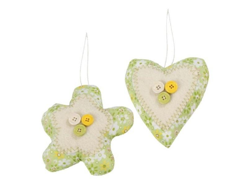 je 3x Herz/Blüte aus Wolle mit Knöpfen GRÜN-CREME 12x3x12cm