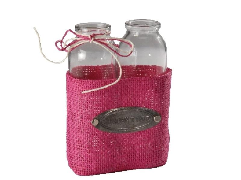 Glasflasche x2 mit Jute PINK 11,5x5x16,5