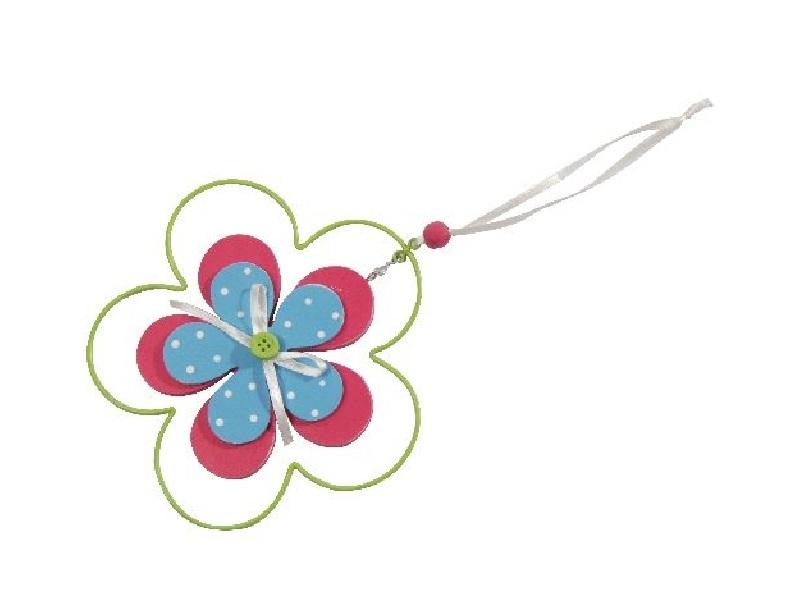 6 Blüten aus Holz mit Metall zum hängen BUNT 14x14cm