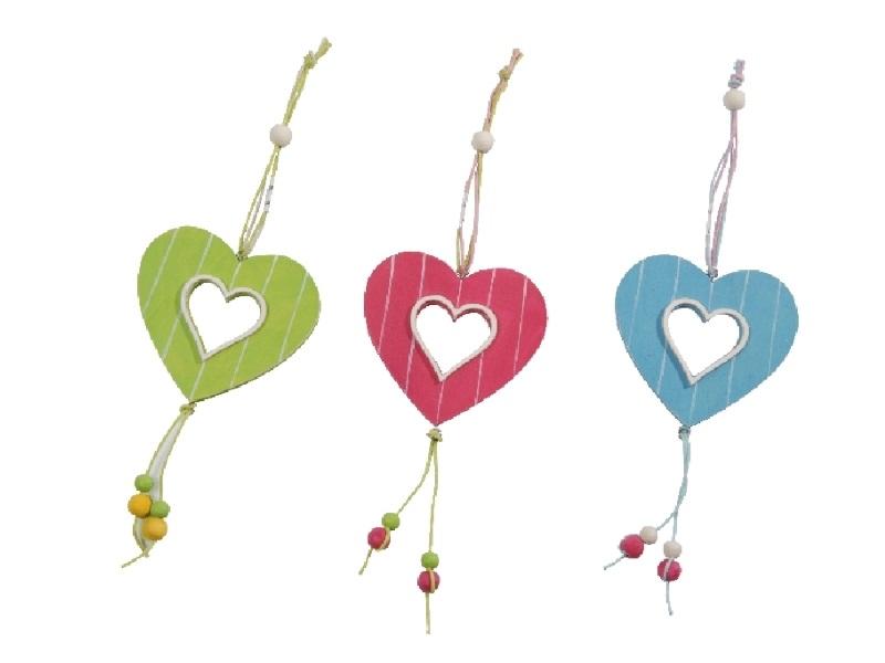 6 Herzen aus Holz farblich sortiert zum hängen 8x8cm