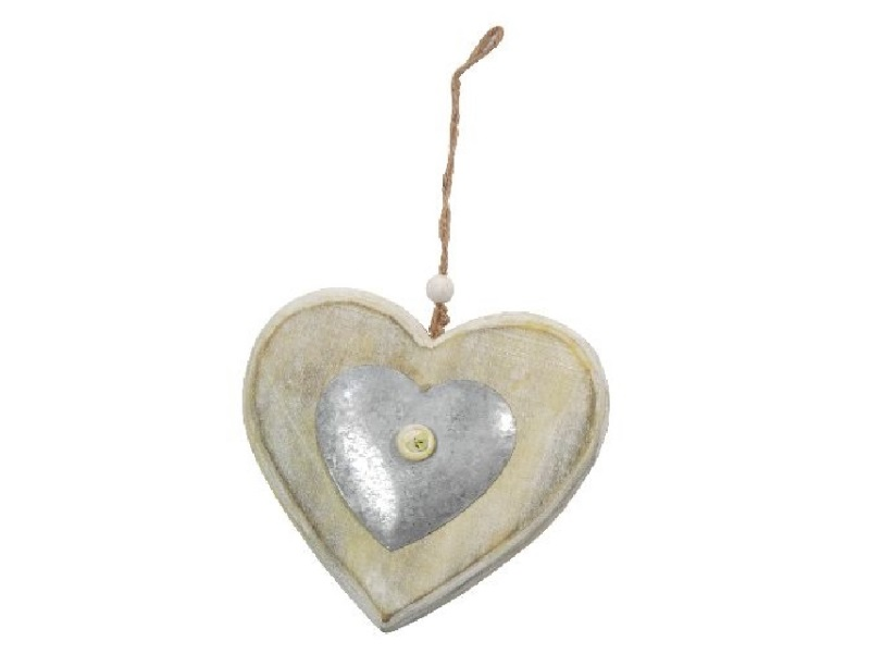6 Herzen aus Holz mit Zink zum hängen GRÜN 14x14cm